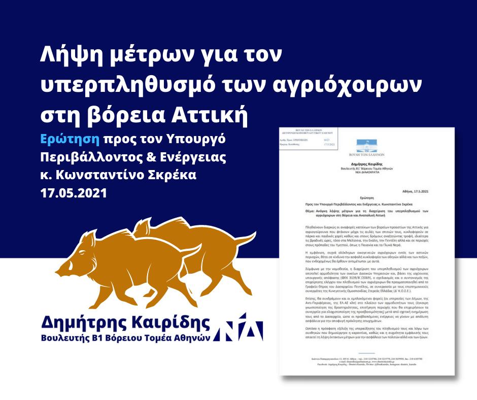 Ανάγκη λήψης μέτρων για τη διαχείριση του υπερπληθυσμού των αγριόχοιρων στη Βόρεια και Ανατολική Αττική